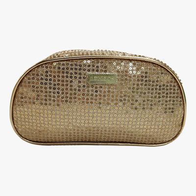 Gold sequined high capacity waterproof makeup bag