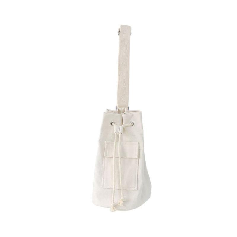 Simple and versatile drawstring mouth canvas bag women's Single Shoulder Messenger