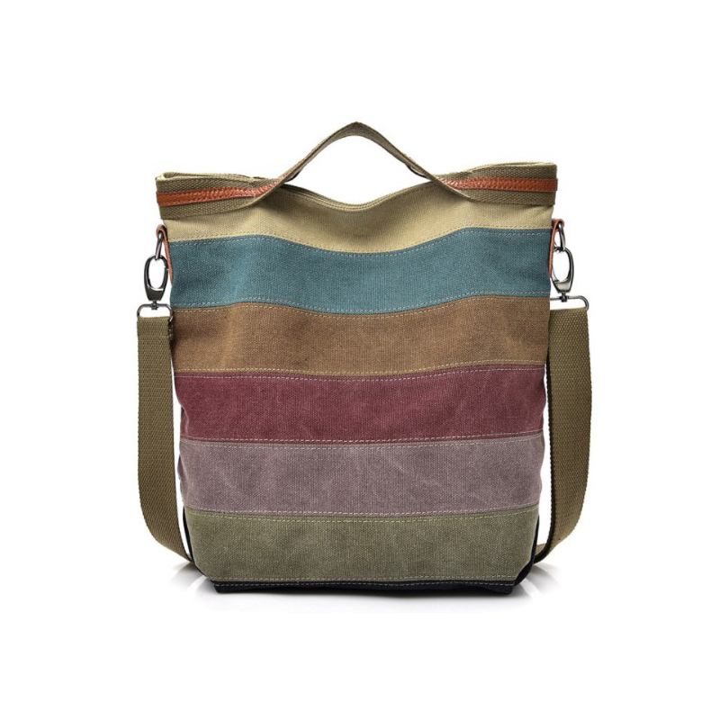 Leisure Women's bag simple art canvas hand held single shoulder straddle bag large capacity multi compartment splicing canvas bag