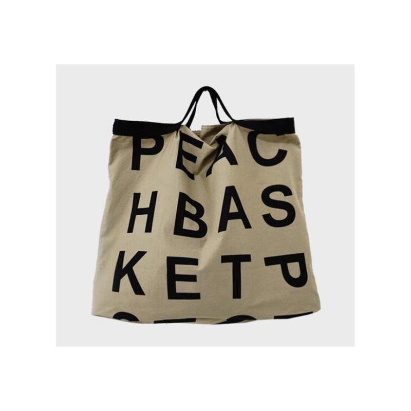 Letter logo lazy wind large capacity shopping bag
